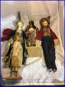 Lot of 3 ANTIQUE DOLLS 19th CENTURY MIDDLE EASTERN withDOCUMENTING INFORMATION