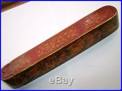 Magnificent Rare Antique 19c Persian Paper Mache Hand Painted Qalamdan Pen Box
