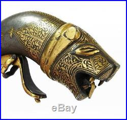 MUGHAL INDIAN KOFTGARI Gold Inlaid TIGER'S HEAD POWDER FLASK Early 19th Century