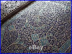 MUSEUM QUALITY HUGE ANTIQUE PERSIAN ISLAMIC KASHMIRI ENAMELED 66cm TRAY C1800's