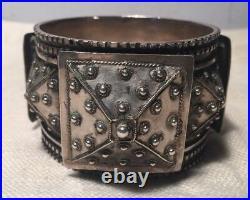 Magnificent Antique Ethnic Middle Eastern Solid Sterling Silver Bangle Bracelet