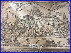 Magnificent Antique Qajar Persian qalamzani Brass Tray/Table Signed