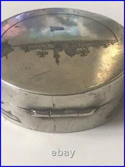 Marsh Arab Solid Silver Niello Snuff Pot Military Interest 1934 Kirkuk Iraq