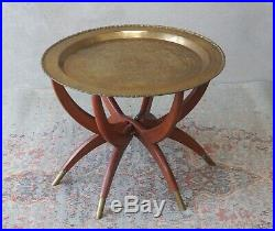 Mid Century Coffee Table Brass Tray with Folding Base Asian Middle Eastern