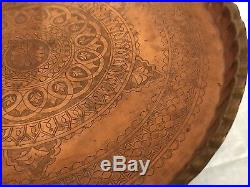Middle Eastern Antique Hammered Copper Tray Table with Carved Wood Folding Stand