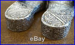 Middle Eastern Antiques Tribal Silver Decorative Pair of Shoes