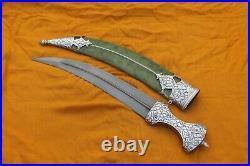Mughal Islamic Indo-Persian silver damascened Yemeni Arabic jambiya dagger knife