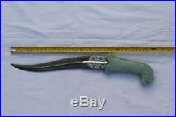 Mughal Islamic Ottoman Gold & silver inlay green jade stone dagger khanjar knife