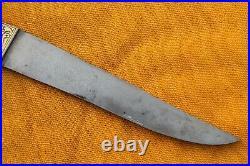 Mughal Islamic gold damascened wootz blade rock crystal small kard dagger knife