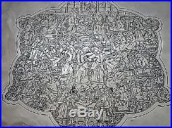 Museum Quality Finest Ever Antique Persian Qajar Islamic Solid Silver Tray 897g