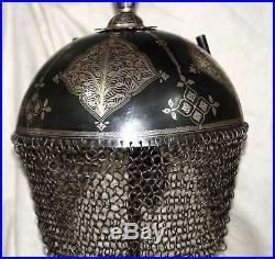 Nice indo Persian iron silver koftgari decorative helmet not sword