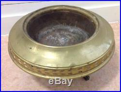 OLD ISLAMIC TURKISH ANTIQUE Brass CENSER BRAZIER BURNER RARE CHINESE INTEREST