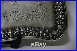 One Of A Kind Fine Antique Persian Islamic Qajar Period Solid Silver Tray 970g