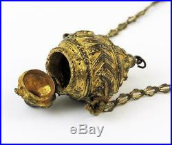OTTOMAN TURKISH GILT BRASS POMANDER PENDANT c1850