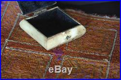 Old Middle Eastern Camel Bone & Brass Box with Handmade Mat