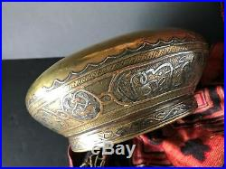 Old Middle Eastern Damascus Inlaid Brass Bowl with Unique Shape beautiful