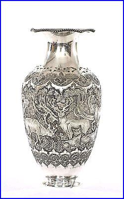 Old Persian Silver Repousse Animal Group Goat Sheep Vase Marked 320 Gram
