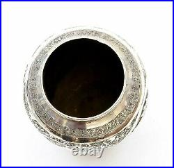 Old Persian Solid Silver Repousse Flower & Bird Vase Marked 145 Gram