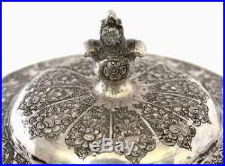 Old Persian Sterling Silver Tea Caddy Covered Jar Vase with Birds Marked
