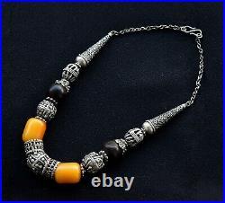 Old Vintage Yemenite Beads Necklace Antique Amber Yemeni Silver Yemen Jewelry