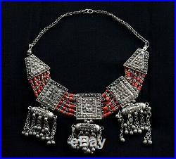 Old Vintage Yemenite Bedouin Necklace Antique Amulet Yemen Silver Yemeni Jewelry
