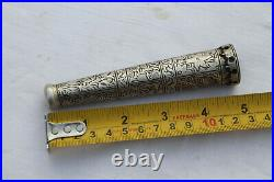 Old antique mughal ottoman islamic silver inlaid chillnum hukkah smoking pipe
