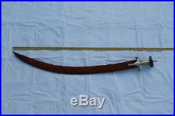 Old rare Mughal rajput silver damascened sword/ tulwar Damascus blade no wootz