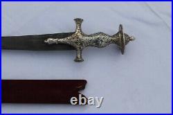 Old rare Mughal rajput silver damascened sword tulwar old iron blade no shamshir