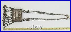 Oman Bedouin coin-silver Hirz receptacle and chain