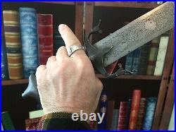 On Sale. Antique Persian Sword 1800s Qajar Dynasty. Silver Damascened Hilt