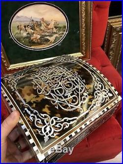 Orientalist Unique Art Ottoman Arabic Islamic Harem Work Wooden Chest