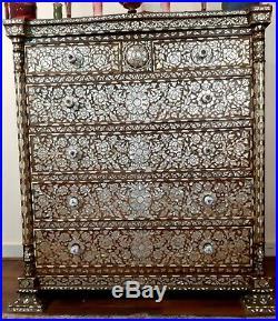 Orientalist Unique Art Ottoman Mother Of Pearl & Bone Inlay Dresser Arabic Islam