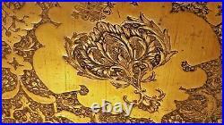 Original Antique Islamic Persian Art Qajar Period Hammer Engraved Brass 58c Tray