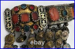 Ottoman Provinces Antique Silver Gilt Enamel & Carnelain Necklace 19th Century
