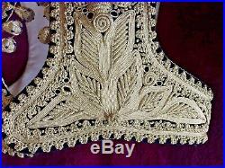 Ottoman Turkish Velvet Silver Metallic Embroidered Wedding Waistcoat Vest