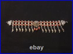 Ottoman antique silver jewelry necklaces, handmade headwear silver pendant