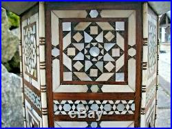 Outstanding Antique Hexagonal Syrian Wooden Inlaid Table