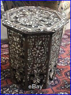 Outstanding Antique Syrian Wooden Inlaid Side Table
