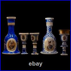 PACKAGE DEAL 19th C. Persian Hookah Two Unique Qajar Bases and Three Tops