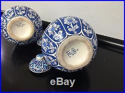 Pair Exquisite Large Antique Ceramic Kutahya Iznik Ottoman Turkey Urn Armenian
