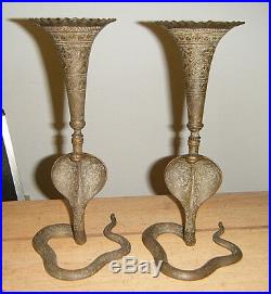 PERSIAN ANTIQUE PAIR 10.5Lg HAND ENGRAVED BRASS KING COBRA SNAKE CANDLE HOLDERS