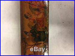 Persian Qajar Ottoman Papier Mache Lacquer Pen Box Case Silver Ink Well Qalamdan