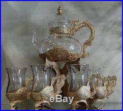 PERSIAN TURKISH ARABIC MIDDLE EASTERN STYLE TEA COOFFEE POT & CUP Set of 6 GOLD