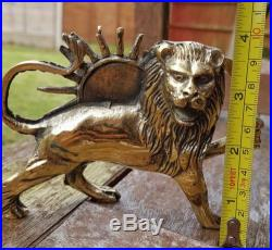 Pahlavi Lion and Sun brass 3d figurines Shir o Khorshid Persian Antique