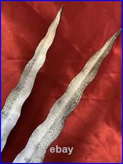 Pair of Antique 19th C Persian Qajar Spears Sufi Lances / Palace Guard Spears