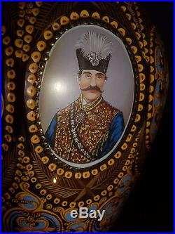 Pair of Bohemian Glass Persian Decanters with Portraits of Nasir Al-Din Shah Qajar