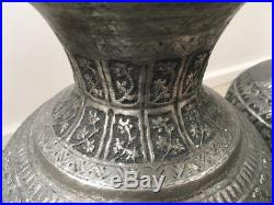 Pair of beautiful rare antique Middle Eastern metal table lamps, rewired 43,5cm