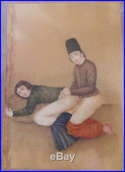 Persia, Qajar Dynasty, Painting Depiciting A Couple In An Erotic Scenes