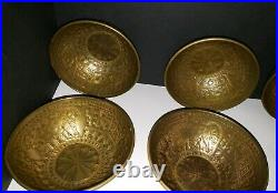 Persian Islamic Mamluk Hand Hammered Brass Bowls Set of 8 RARE ANTIQUE