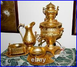 Persian Samovar 7 Piece Electric Tea Set Gold Plated Middle Eastern. WOW